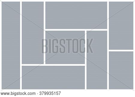 Photo Collage Grid. Mood Board Template. Vector. Moodboard Design. Gray Pictures On White Background