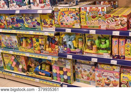 Czech Republic, Prague 15,03,2016 Toys On Shelves In A Children's Store