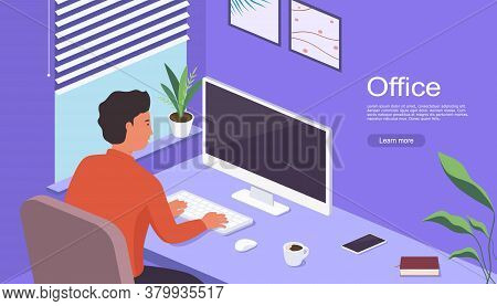 Man Works At Home Sitting At Table In Front Of Computer Screen. Freelancer Working At Computer At Ho