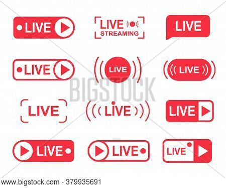 Live Stream Buttons, Online Live Streaming Player Icons. Media Concept For Tv, Shows.