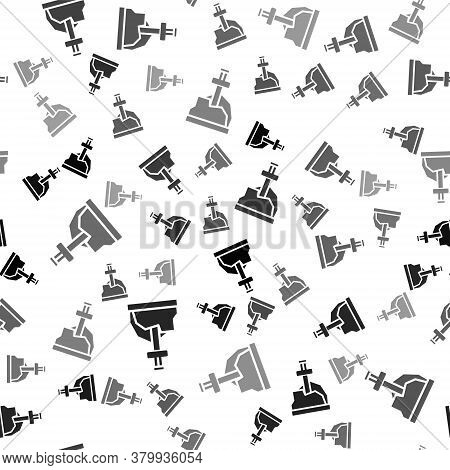 Black Sword In The Stone Icon Isolated Seamless Pattern On White Background. Excalibur The Sword In