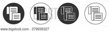 Black Decree, Paper, Parchment, Scroll Icon Icon Isolated On White Background. Circle Button. Vector