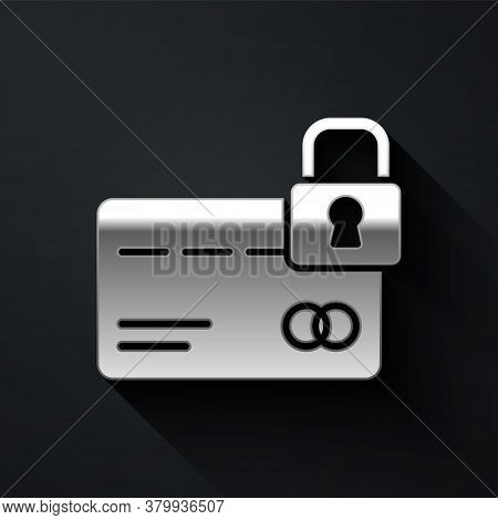 Silver Credit Card With Lock Icon Isolated On Black Background. Locked Bank Card. Security, Safety,
