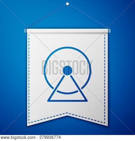 Blue Hamster Wheel Icon Isolated On Blue Background. Wheel For Rodents. Pet Shop. White Pennant Temp