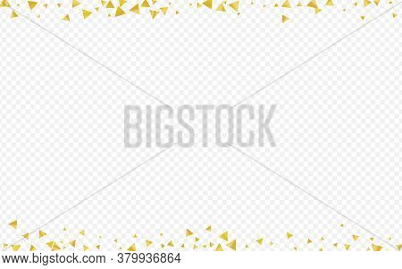 Golden Sequin Anniversary Transparent Background. Festive Triangle Card. Yellow Glow Effect Texture.
