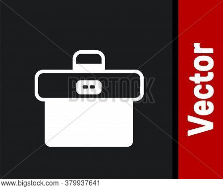 White Briefcase Icon Isolated On Black Background. Business Case Sign. Business Portfolio. Vector