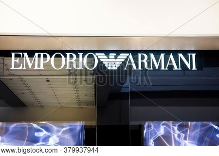 Shenzhen, China - August 9, 2012: Emporio Armani store sign. Emporio Armani is an Italian luxury fashion house.