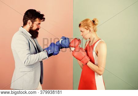 Man And Woman Boxing Fight. Family Life. Complicated Relationships. Couple Romantic Relationships. B