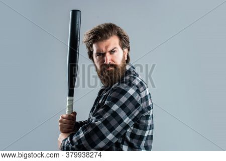 He Is Professional. Bandit Gang And Conflict. Sport. Street Hooligan With Bat. Man Reliving Stress.