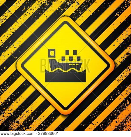 Black Cargo Ship With Boxes Delivery Service Icon Isolated On Yellow Background. Delivery, Transport