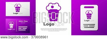 Logotype Popcorn In Cardboard Box Icon Isolated On White Background. Popcorn Bucket Box. Logo Design
