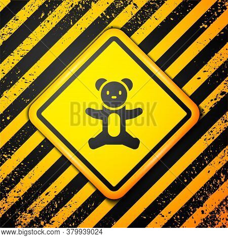 Black Teddy Bear Plush Toy Icon Isolated On Yellow Background. Warning Sign. Vector