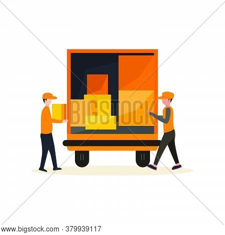 Fast Delivery Van. Courier Provides Free Delivery Of Goods Or Postal Parcels To The Address. Man Wit