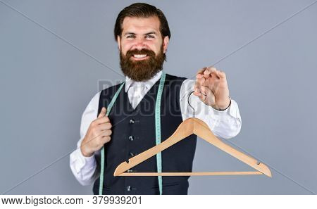 For You. Tailor Man Use Tape Measure. Professional Male Sartor With Measuring Tape And Hanger. Hands