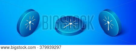 Isometric Firework Icon Isolated On Blue Background. Concept Of Fun Party. Explosive Pyrotechnic Sym