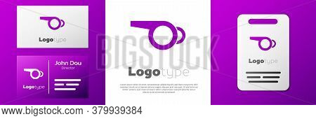 Logotype Whistle Icon Isolated On White Background. Referee Symbol. Fitness And Sport Sign. Logo Des