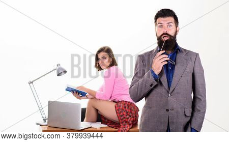 Sexy Lady Office Worker. Sexy Personal Secretary. Full Of Desire. Office Collective Concept. Bearded