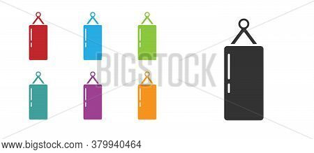 Black Punching Bag Icon Isolated On White Background. Set Icons Colorful. Vector