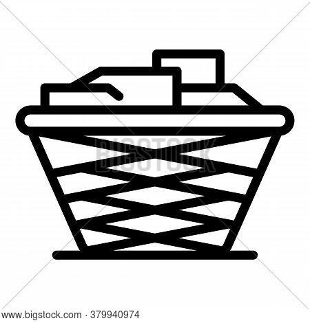 Laundry Basket Icon. Outline Laundry Basket Vector Icon For Web Design Isolated On White Background