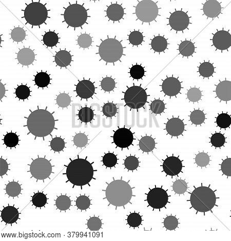 Black Sun Icon Isolated Seamless Pattern On White Background. Summer Symbol. Good Sunny Day. Vector