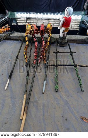Hoi An, Vietnam, February 24, 2020: Handling System Made Of Bamboo Of The Water Puppets Of The Hoi A