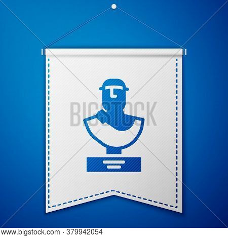 Blue Ancient Bust Sculpture Icon Isolated On Blue Background. White Pennant Template. Vector