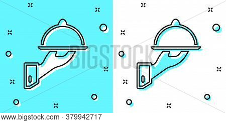 Black Line Covered With A Tray Of Food Icon Isolated On Green And White Background. Tray And Lid Sig