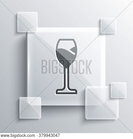 Grey Wine Glass Icon Isolated On Grey Background. Wineglass Icon. Goblet Symbol. Glassware Sign. Hap