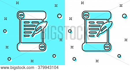 Black Line Decree, Paper, Parchment, Scroll Icon Icon Isolated On Green And White Background. Random