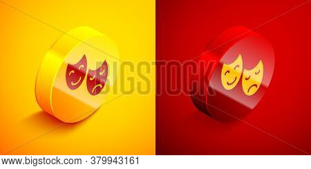 Isometric Comedy And Tragedy Theatrical Masks Icon Isolated On Orange And Red Background. Circle But