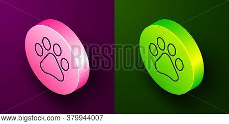 Isometric Line Paw Print Icon Isolated On Purple And Green Background. Dog Or Cat Paw Print. Animal