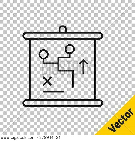 Black Line Planning Strategy Concept Icon Isolated On Transparent Background. Cup Formation And Tact