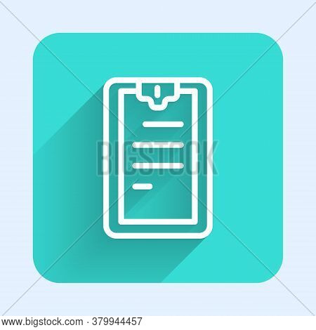 White Line Clipboard With Checklist Icon Isolated With Long Shadow. Control List Symbol. Survey Poll
