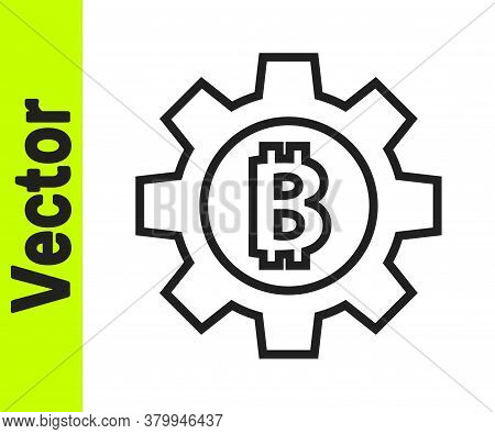 Black Line Cryptocurrency Coin Bitcoin Icon Isolated On White Background. Gear And Bitcoin Setting.