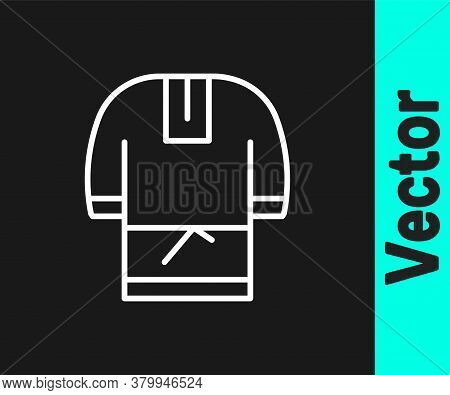 White Line Kosovorotka Is A Traditional Russian Shirt Icon Isolated On Black Background. Traditional