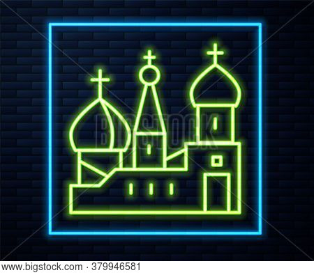 Glowing Neon Line Moscow Symbol - Saint Basils Cathedral, Russia Icon Isolated On Brick Wall Backgro