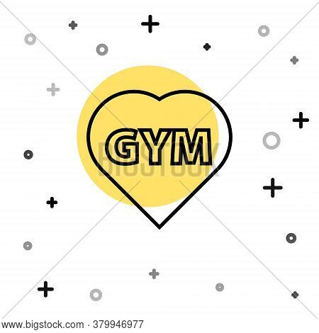 Black Line Fitness Gym Heart Icon Isolated On White Background. I Love Fitness. Random Dynamic Shape