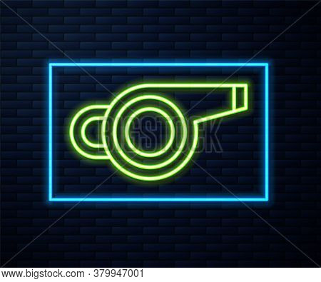 Glowing Neon Line Whistle Icon Isolated On Brick Wall Background. Referee Symbol. Fitness And Sport