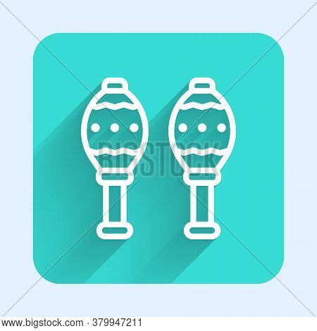 White Line Maracas Icon Isolated With Long Shadow. Music Maracas Instrument Mexico. Green Square But