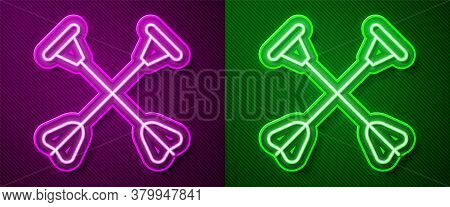 Glowing Neon Line Arrow With Sucker Tip Icon Isolated On Purple And Green Background. Vector
