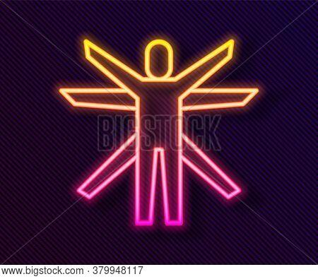 Glowing Neon Line Vitruvian Man By Leonardo Da Vinci Icon Isolated On Black Background. Human Anatom
