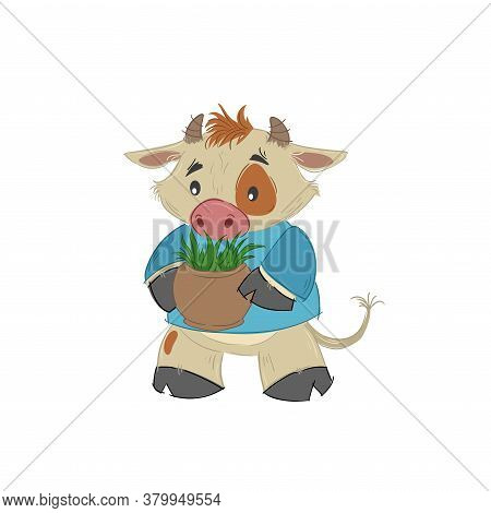 Cute Bull, Ox Or Bison Taking A Flowerpot With Plant. 2021 Chinese Year Of Bull Symbol. Cartoon Hand
