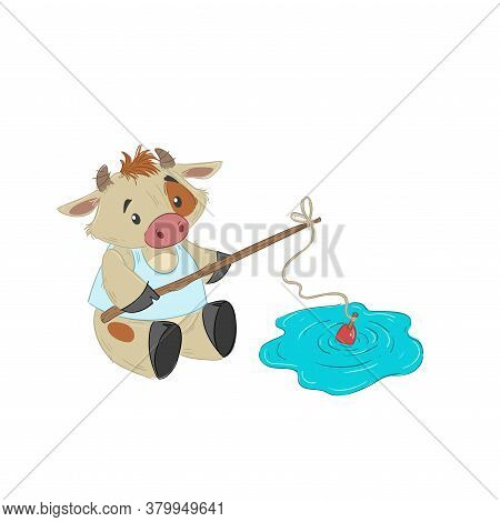 Cute Bull, Ox Or Bison Fishing With Big Fish-rod. 2021 Chinese Year Of Bull Symbol. Cartoon Hand Dra