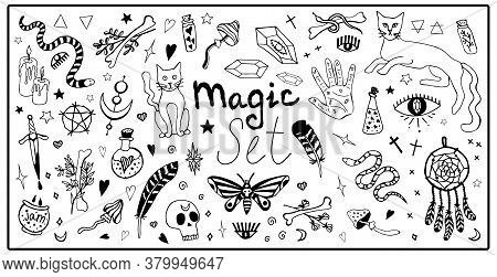 Big Magic Set Vector Isolated Elements. Mystical Items, Witchcraft, Spiritism, Divination. Hand Draw