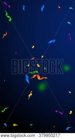 Streamers And Confetti. Colorful Streamers Tinsel And Foil Ribbons. Confetti Explosion On Dark Blue