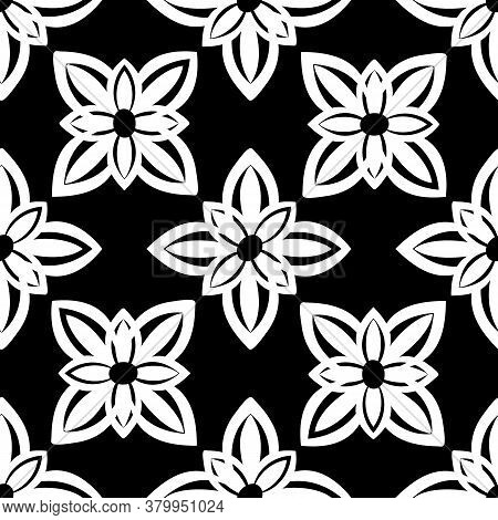 White Ornament On Black Background Vector Damask Seamless Retro Pattern Wallpaper Geometry. Luxury O