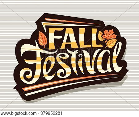 Vector Lettering Fall Festival, Black Badge With Curly Calligraphic Font And Illustration Of Decorat