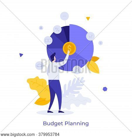 Man And Round Pie Chart With Dollar Coin And Indication Of Expenses Or Spendings. Concept Of Service
