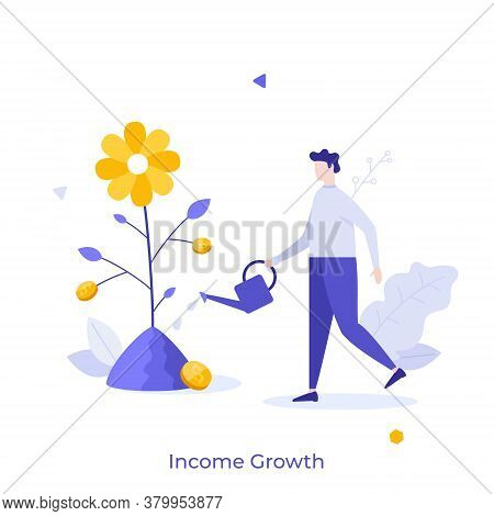 Man With Watering Can Cultivating Plant With Dollar Coins Growing On It. Concept Of Income Growth, F