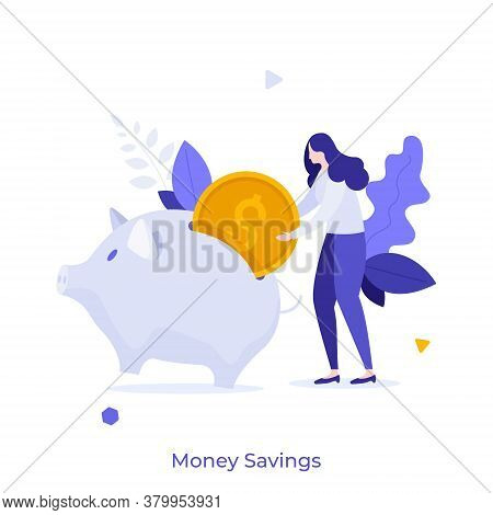 Woman Putting Dollar Coin Into Piggy Bank. Concept Of Money Savings, Personal Investment, Finance, F